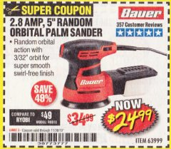 "Harbor Freight Coupon BAUER 2.8 AMP 5"" RANDOM ORBITAL PALM SANDER Lot No. 63999 Expired: 11/30/19 - $24.99"