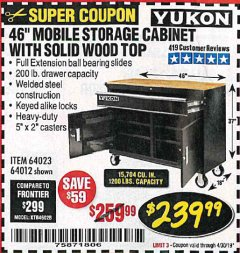 "Harbor Freight Coupon YUKON 46"" MOBILE WORKBENCH WITH SOLID WOOD TOP Lot No. 64023/64012 Expired: 4/30/19 - $239.99"