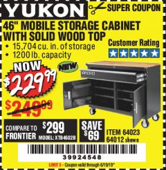 "Harbor Freight Coupon YUKON 46"" MOBILE WORKBENCH WITH SOLID WOOD TOP Lot No. 64023/64012 Expired: 6/19/19 - $229.99"