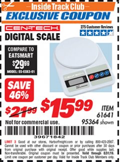 Harbor Freight ITC Coupon CEN TECH DIGITAL SCALE Lot No. 95364,61641 Expired: 8/31/19 - $15.99