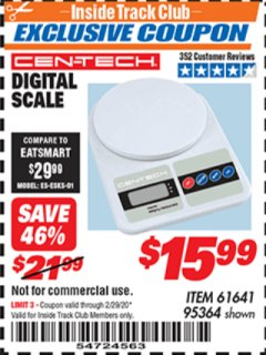 Harbor Freight ITC Coupon CEN TECH DIGITAL SCALE Lot No. 95364,61641 Valid: 2/1/20 - 2/29/20 - $15.99