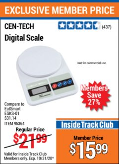 Harbor Freight ITC Coupon CEN TECH DIGITAL SCALE Lot No. 95364,61641 Valid Thru: 10/31/20 - $15.99