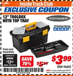 "Harbor Freight ITC Coupon 12"" TOOLBOX WITH TOP TRAY VOYAGER Lot No. 96602 Expired: 9/30/19 - $3.99"