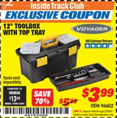 "Harbor Freight ITC Coupon 12"" TOOLBOX WITH TOP TRAY VOYAGER Lot No. 96602 Expired: 2/29/20 - $3.99"