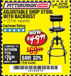 Harbor Freight Coupon ADJUSTABLE SHOP STOOL WITH BACKREST Lot No. 64499 EXPIRES: 7/2/20 - $49.99