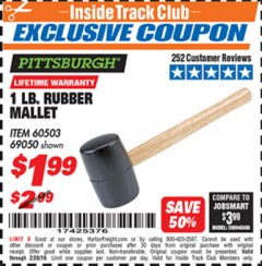 Harbor Freight ITC Coupon 1 LB. RUBBER MALLET Lot No. 60503/69050 Expired: 2/28/19 - $1.99