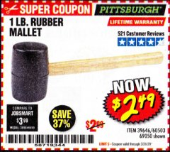 Harbor Freight Coupon 1 LB. RUBBER MALLET Lot No. 60503/69050 Expired: 3/31/20 - $2.49