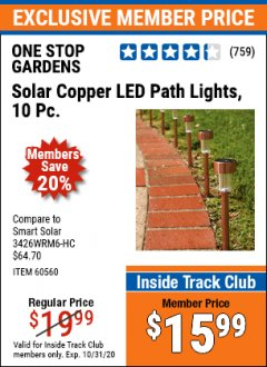 Harbor Freight ITC Coupon 10 PIECE STAINLESS STEEL SOLAR LIGHT SET Lot No. 60560/66249/69461 Valid Thru: 10/31/20 - $15.99