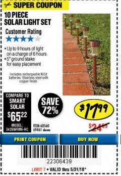 Harbor Freight Coupon 10 PIECE STAINLESS STEEL SOLAR LIGHT SET Lot No. 60560/66249/69461 Expired: 5/31/18 - $17.99