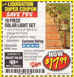 Harbor Freight Coupon 10 PIECE STAINLESS STEEL SOLAR LIGHT SET Lot No. 60560/66249/69461 Expired: 6/30/18 - $17.99