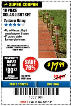 Harbor Freight Coupon 10 PIECE STAINLESS STEEL SOLAR LIGHT SET Lot No. 60560/66249/69461 Expired: 8/31/18 - $17.99