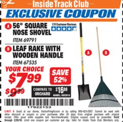 "Harbor Freight ITC Coupon 56"" SQUARE NOSE SHOVEL / LEAF RAKE WITH WOODEN HANDLE Lot No. 69791/67535 Expired: 2/28/19 - $7.99"