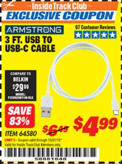 Harbor Freight ITC Coupon 3 FT. USB TO USB-C CABLE Lot No. 64580 Expired: 10/31/19 - $4.99