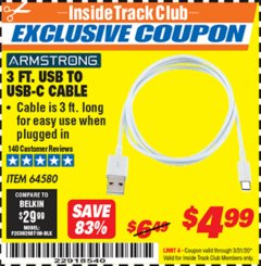 Harbor Freight ITC Coupon 3 FT. USB TO USB-C CABLE Lot No. 64580 Expired: 3/31/20 - $4.99