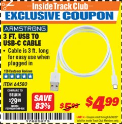 Harbor Freight ITC Coupon 3 FT. USB TO USB-C CABLE Lot No. 64580 Expired: 6/30/20 - $4.99