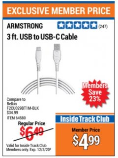 Harbor Freight ITC Coupon 3 FT. USB TO USB-C CABLE Lot No. 64580 Valid Thru: 12/3/20 - $4.99