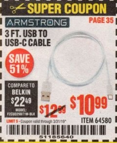 Harbor Freight Coupon 3 FT. USB TO USB-C CABLE Lot No. 64580 Expired: 3/31/19 - $10.99