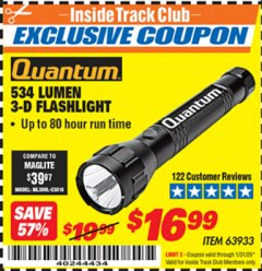 Harbor Freight ITC Coupon 534 LUMENS 3-D FLASHLIGHT Lot No. 63933 Expired: 1/31/20 - $16.99