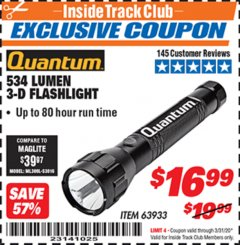 Harbor Freight ITC Coupon 534 LUMENS 3-D FLASHLIGHT Lot No. 63933 Expired: 3/31/20 - $16.99