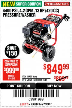 Harbor Freight Coupon 4400 PSI, 4.2 GPM, 13 HP (420 CC) PRESSURE WASHER Lot No. 64931/64199 Expired: 2/3/19 - $849.99