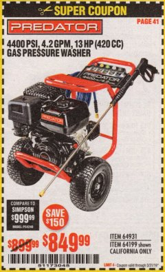 Harbor Freight Coupon 4400 PSI, 4.2 GPM, 13 HP (420 CC) PRESSURE WASHER Lot No. 64931/64199 Expired: 3/31/19 - $849.99