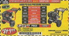 Harbor Freight Coupon 4400 PSI, 4.2 GPM, 13 HP (420 CC) PRESSURE WASHER Lot No. 64931/64199 Expired: 4/30/19 - $849.99