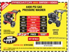 Harbor Freight Coupon 4400 PSI, 4.2 GPM, 13 HP (420 CC) PRESSURE WASHER Lot No. 64931/64199 Expired: 4/30/19 - $799.99