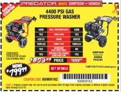 Harbor Freight Coupon 4400 PSI, 4.2 GPM, 13 HP (420 CC) PRESSURE WASHER Lot No. 64931/64199 Expired: 5/31/19 - $799.99