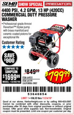 Harbor Freight Coupon 4400 PSI, 4.2 GPM, 13 HP (420 CC) PRESSURE WASHER Lot No. 64931/64199 Expired: 11/24/19 - $799.99