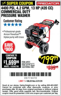 Harbor Freight Coupon 4400 PSI, 4.2 GPM, 13 HP (420 CC) PRESSURE WASHER Lot No. 64931/64199 Expired: 6/30/20 - $799.99