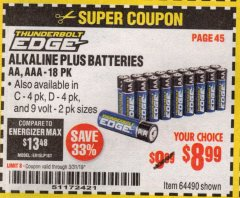 Harbor Freight Coupon ALKALINE BATTERIES Lot No. 92404 Expired: 3/31/19 - $8.99
