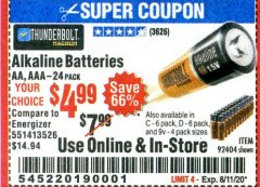 Harbor Freight Coupon ALKALINE BATTERIES Lot No. 92404 Expired: 8/11/20 - $4.99
