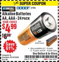 Harbor Freight Coupon ALKALINE BATTERIES Lot No. 92404 Expired: 3/1/21 - $4.99