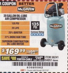 Harbor Freight Coupon MCGRAW 20 GALLON, 135 PSI OIL-LUBE AIR COMPRESSOR Lot No. 56241/64857 Expired: 10/17/19 - $169.99