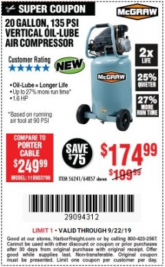 Harbor Freight Coupon MCGRAW 20 GALLON, 135 PSI OIL-LUBE AIR COMPRESSOR Lot No. 56241/64857 Expired: 9/22/19 - $174.99
