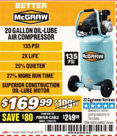 Harbor Freight Coupon MCGRAW 20 GALLON, 135 PSI OIL-LUBE AIR COMPRESSOR Lot No. 56241/64857 Expired: 8/31/19 - $169.99