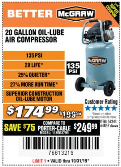 Harbor Freight Coupon MCGRAW 20 GALLON, 135 PSI OIL-LUBE AIR COMPRESSOR Lot No. 56241/64857 Expired: 10/31/19 - $174.99