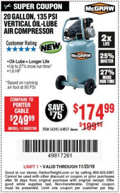 Harbor Freight Coupon MCGRAW 20 GALLON, 135 PSI OIL-LUBE AIR COMPRESSOR Lot No. 56241/64857 Expired: 11/23/19 - $174.99