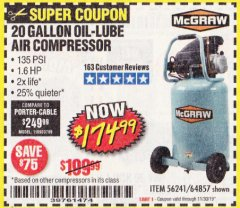 Harbor Freight Coupon MCGRAW 20 GALLON, 135 PSI OIL-LUBE AIR COMPRESSOR Lot No. 56241/64857 Expired: 11/30/19 - $174.99