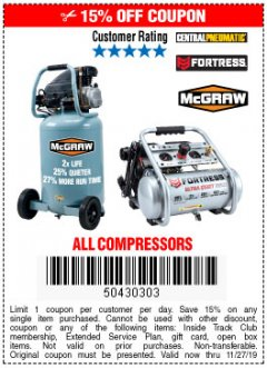 Harbor Freight Coupon MCGRAW 20 GALLON, 135 PSI OIL-LUBE AIR COMPRESSOR Lot No. 56241/64857 Expired: 11/27/19 - $169.99