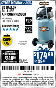 Harbor Freight Coupon MCGRAW 20 GALLON, 135 PSI OIL-LUBE AIR COMPRESSOR Lot No. 56241/64857 Expired: 12/1/19 - $174.99