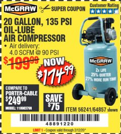 Harbor Freight Coupon MCGRAW 20 GALLON, 135 PSI OIL-LUBE AIR COMPRESSOR Lot No. 56241/64857 Expired: 2/12/20 - $174.99