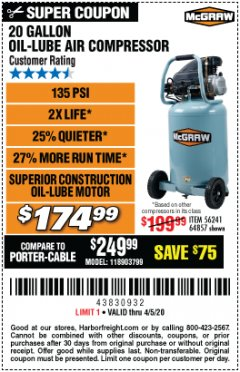 Harbor Freight Coupon MCGRAW 20 GALLON, 135 PSI OIL-LUBE AIR COMPRESSOR Lot No. 56241/64857 Expired: 6/30/20 - $174.99