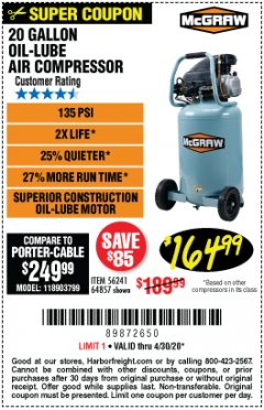 Harbor Freight Coupon MCGRAW 20 GALLON, 135 PSI OIL-LUBE AIR COMPRESSOR Lot No. 56241/64857 Expired: 6/30/20 - $164.99