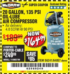 Harbor Freight Coupon MCGRAW 20 GALLON, 135 PSI OIL-LUBE AIR COMPRESSOR Lot No. 56241/64857 Expired: 6/21/20 - $164.99