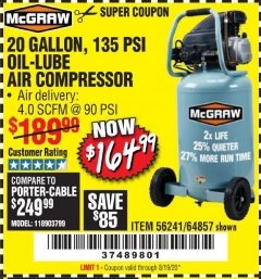 Harbor Freight Coupon MCGRAW 20 GALLON, 135 PSI OIL-LUBE AIR COMPRESSOR Lot No. 56241/64857 Expired: 8/19/20 - $164.99