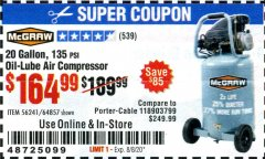 Harbor Freight Coupon MCGRAW 20 GALLON, 135 PSI OIL-LUBE AIR COMPRESSOR Lot No. 56241/64857 Expired: 8/8/20 - $164.99