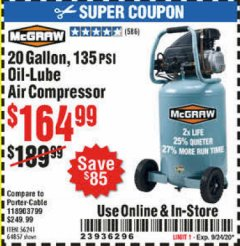 Harbor Freight Coupon MCGRAW 20 GALLON, 135 PSI OIL-LUBE AIR COMPRESSOR Lot No. 56241/64857 Expired: 9/24/20 - $164.99