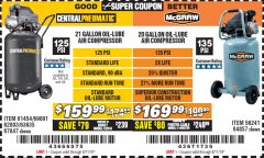 Harbor Freight Coupon MCGRAW 20 GALLON, 135 PSI OIL-LUBE AIR COMPRESSOR Lot No. 56241/64857 Expired: 8/11/19 - $169.99