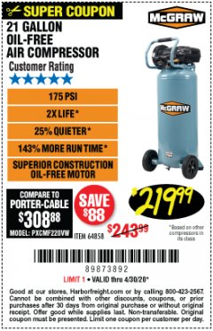 Harbor Freight Coupon MCGRAW 175 PSI, 21 GALLON VERTICAL OIL-FREE AIR COMPRESSOR Lot No. 64858 EXPIRES: 6/30/20 - $219.99